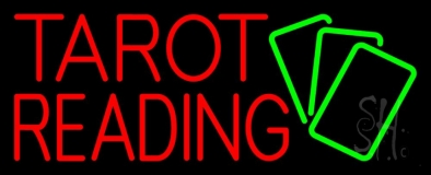 Red Tarot Reading Green Cards Neon Sign