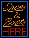 Shoes And Boots Here With Blue Border LED Neon Sign