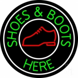 Shoes And Boots Here With White Border LED Neon Sign