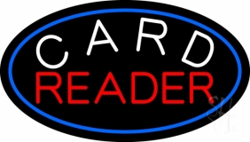 White Card Red Reader And Blue Border LED Neon Sign