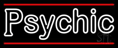 White Double Stroke Psychic And Red Line LED Neon Sign