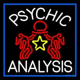 White Psychic Analysis With Logo And Blue Border LED Neon Sign