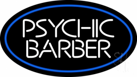 White Psychic Barber With Blue Border LED Neon Sign