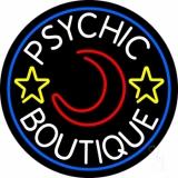 White Psychic Boutique Blue Border LED Neon Sign