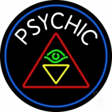 White Psychic Logo And Blue Border LED Neon Sign