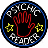 White Psychic Reader With Red Palm Blue Circle LED Neon Sign
