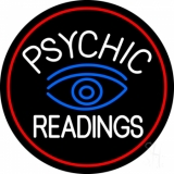 White Psychic Readings With Blue Eye LED Neon Sign