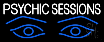 White Psychic Sessions With Blue Eye LED Neon Sign