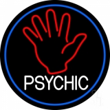 White Psychic With Blue Border LED Neon Sign