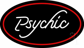 White Psychic With Red Oval Neon Sign