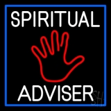 White Spiritual Advisor With Red Palm LED Neon Sign