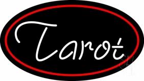 White Tarot Red Border LED Neon Sign