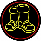 Winter Boots With Red Border LED Neon Sign