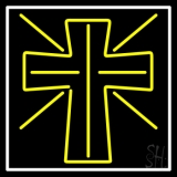 Yellow Christian Cross LED Neon Sign