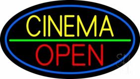Yellow Cinema Open LED Neon Sign