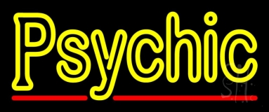 Yellow Double Stroke Psychic LED Neon Sign