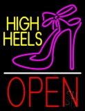 Yellow High Heels Open With Line LED Neon Sign