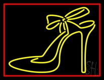 Yellow High Heels With Ribbon LED Neon Sign
