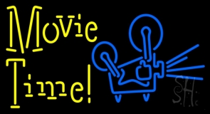 Yellow Movie Time With Logo LED Neon Sign