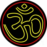 Yellow Om With Border LED Neon Sign