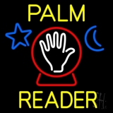 Yellow Palm Reader With Crystal LED Neon Sign