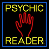 Yellow Psychic Reader Blue Border LED Neon Sign