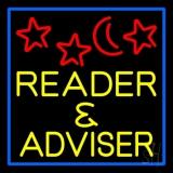 Yellow Reader And Advisor Blue Border LED Neon Sign