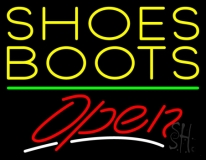 Yellow Shoes Boots Open LED Neon Sign