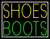 Yellow Shoes Green Boots With Border LED Neon Sign