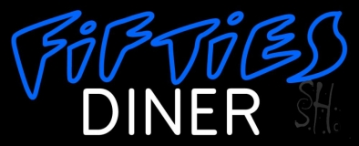 Blue 50s White Diner Neon Sign