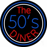 Blue And White Border The 50s Diner Circle LED Neon Sign
