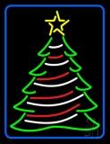 Blue Border Decorative Christmas Tree LED Neon Sign