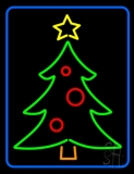 Blue Border Green Christmas Tree Neon Sign