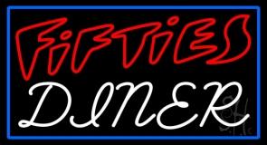 Blue Border Red 50s White Diner LED Neon Sign