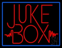 Blue Border Red Juke Box Neon Sign