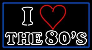 Blue Border White Double Stroke Love 80s LED Neon Sign