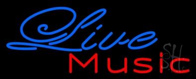 Blue Cursive Live Music Neon Sign