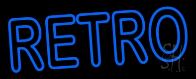 Blue Duble Strok Retro Block Neon Sign