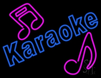 Blue Karaoke Red Musical Note LED Neon Sign