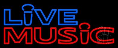 Blue Live Music Block Mic Logo LED Neon Sign