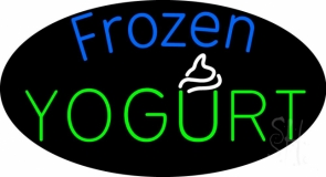 Oval Blue Green Frozen Yogurt LED Neon Sign