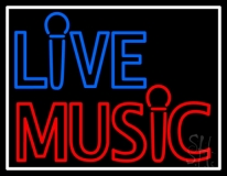 Blue Live Music Block Mic Logo With Border  LED Neon Sign