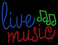 Blue Live Music Cursive LED Neon Sign