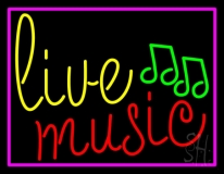 Blue Live Music Cursive With Border  LED Neon Sign