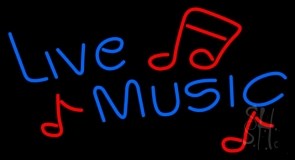 Blue Live Music Red Notes LED Neon Sign