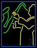 Blue Man Yellow Saxophone LED Neon Sign