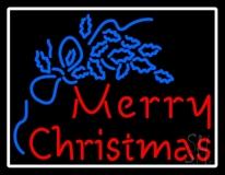 Blue Merry Christmas White Border LED Neon Sign
