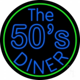 Blue The 50s Diner Circle LED Neon Sign