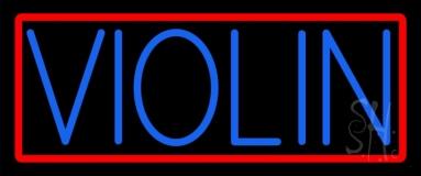 Blue Violin Red Border LED Neon Sign