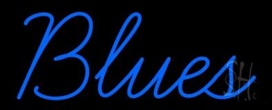 Cursive Blues Blue Neon Sign